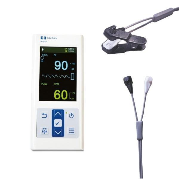 Nellcor PM10N tragbares SpO2 Pulsoximeter inkl. Universal Y-Sensor und Ohrclip
