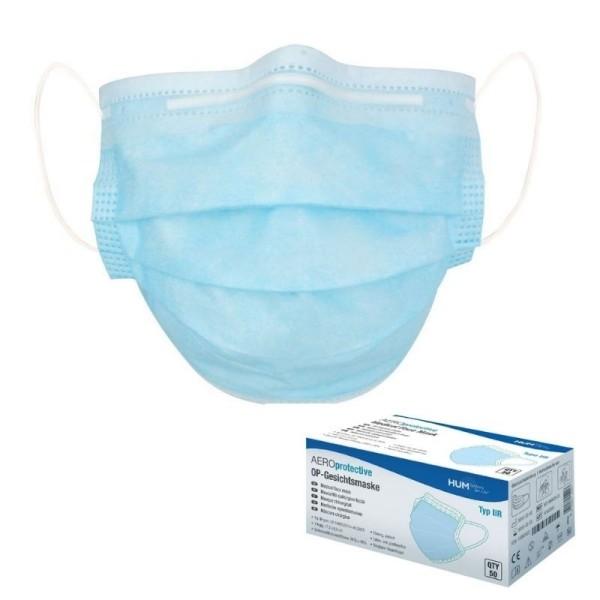 OP-Gesichtsmaske Typ IIR medizinischer Mundschutz 50 Stück in der Box
