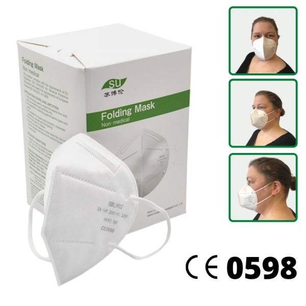 FFP2 NR Masken Atemschutzmasken ohne Ventil CE 0598 EN149:2001+A1:2009