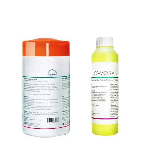 Löwenstein CPAP Reinigungstücher ZITRUS + Löwosan CPAP Spezialreiniger 250ml