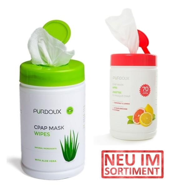 CPAP Reinigungstücher Doppelpack NEUTRAL mit Aloe Vera + ZITRUS je 70 Tücher