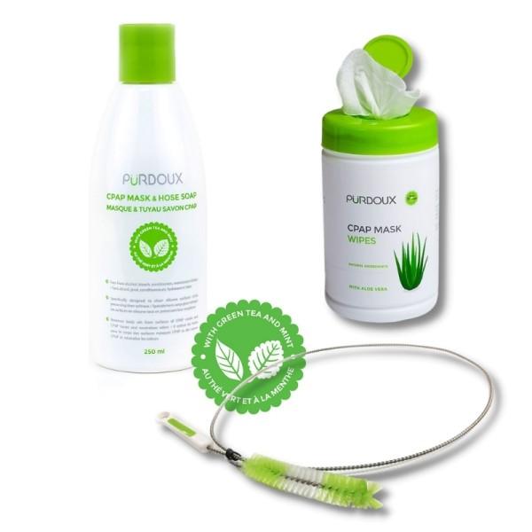 CPAP Reinigungsmittel + CPAP Reinigungstücher + CPAP Reinigungsbürste 19mm verschiedene Ausführungen