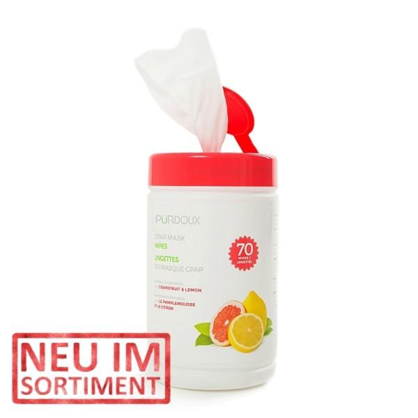 Pürdoux CPAP Masken Reinigungstücher Grapefruit & Zitrone 70 Stück