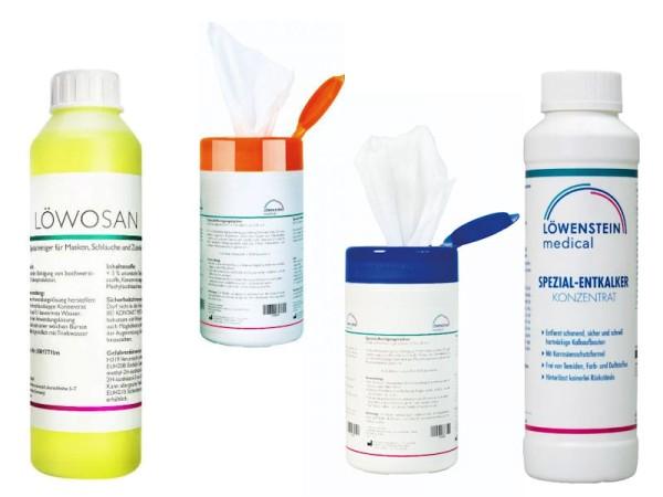 Löwenstein CPAP Reinigung SPARSET Reinigungstücher + Löwosan + Entkalker