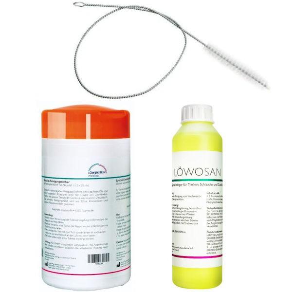 CPAP Komfort-Set ZITRUS Reinigungstücher + Löwosan Speziareiniger + Reinigungsbürste