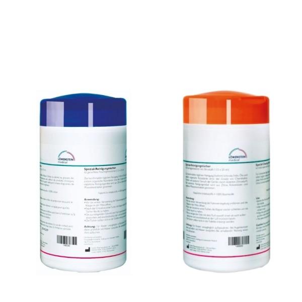 CPAP Masken Reinigungstücher 2er Set ZITRUS + NEUTRAL je 62 Stück in Spenderbox Löwenstein Medical