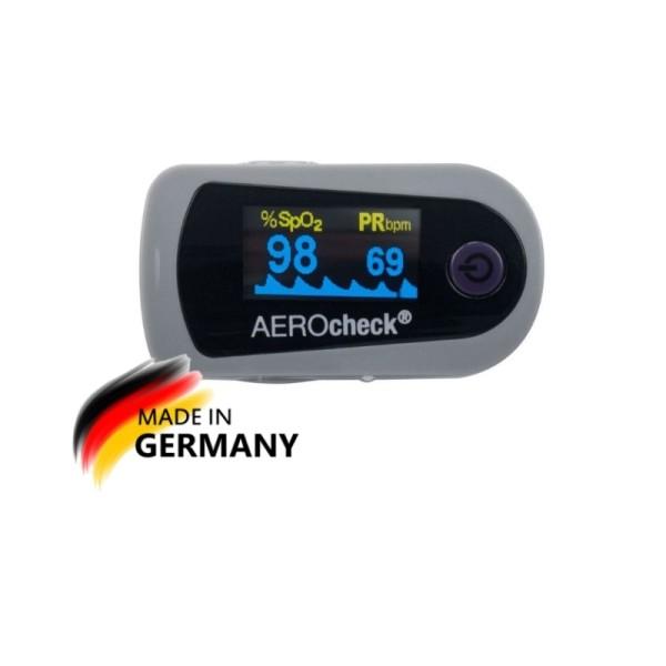 Pulsoximeter AEROcheck Fingerpulsoximeter SpO2 Sauerstoffsättigung MADE IN DE