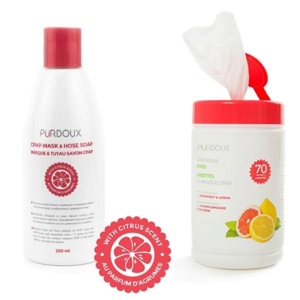 CPAP Reinigungsmittel Grapefruit/Zitrone 250ml & CPAP Reinigungstücher Grapefruit/Zitrone 70 Stück