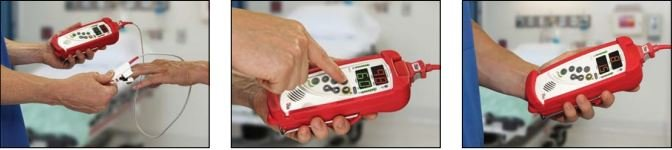 Beschreibung Messvorgang vom RAD-57, Fingerclip anlegen, Display Knopf drücken und Ergebnisse ablesen