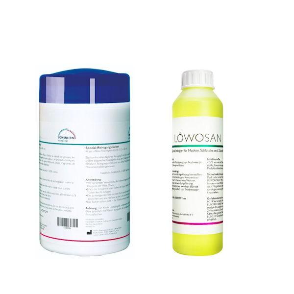 Löwenstein CPAP Reinigungstücher NEUTRAL + Löwosan Spezialreiniger 250ml