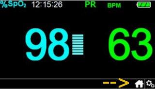 Anzeige im HomeCare Modus Covidien Nellcor PM100N
