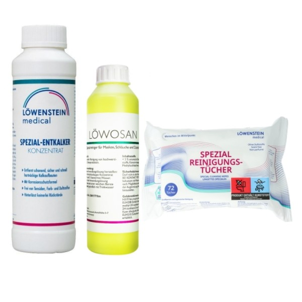 Löwosan Reinigungsmittel + Entkalker Konzentrat + CPAP Reinigungstücher 72 Stück neutral