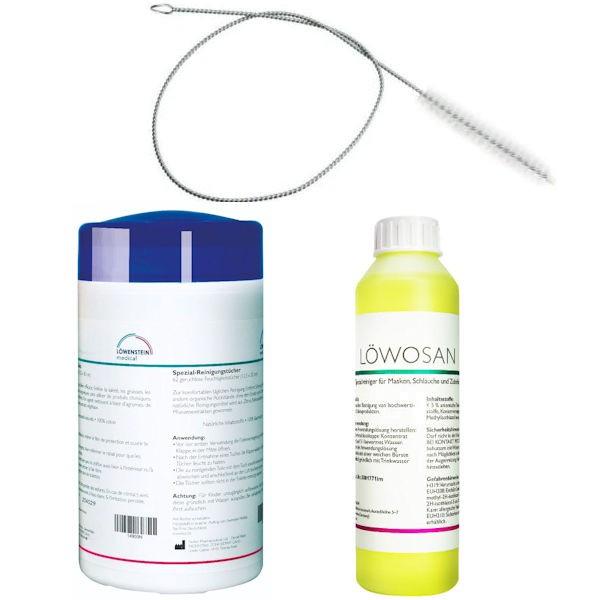 CPAP Komfort-Set NEUTRAL Reinigungstücher + Löwosan Speziareiniger + Reinigungsbürste